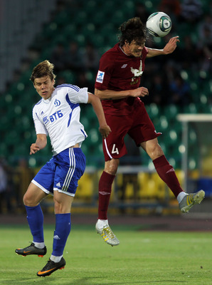 KAZAN, RUSSIA - JUNE 14: Cesar Navas (R) of FC Rubin Kazan battles for the ball with Aleksandr Kokorin of FC Dinamo Moscow during the Russian Football League Championship match between FC Rubin Kazan and FC Dinamo Moscow at the Tsentraliniy Stadium on Jun