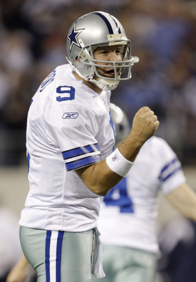 ARLINGTON, TX - JANUARY 9:  Quarterback Tony Romo #9 of the Dallas Cowboys reacts in the second quarter against the Philadelphia Eagles during the 2010 NFC wild-card playoff game at Cowboys Stadium on January 9, 2010 in Arlington, Texas. (Photo by Jamie S