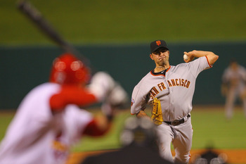 ST. LOUIS, MO - JUNE 2: Reliever Jeremy Affeldt #41 of the San Francisco Giants pitches against the St. Louis Cardinals at Busch Stadium on June 2, 2011 in St. Louis, Missouri.  (Photo by Dilip Vishwanat/Getty Images)
