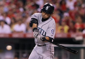 ANAHEIM, CA - JULY 07:  Ichiro Suzuki #51 of the Seattle Mariners swings at a pitch in the eighth inning against the Los Angeles Angels of Anaheim at Angel Stadium of Anaheim on July 7, 2011 in Anaheim, California. The Angels defeated the Mariners 5-1.  (