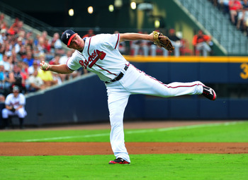 ATLANTA - JULY 2: Chipper Jones #10 of the Atlanta Braves fields a grounder against the Baltimore Orioles at Turner Field on July 2, 2011 in Atlanta, Georgia. (Photo by Scott Cunningham/Getty Images)