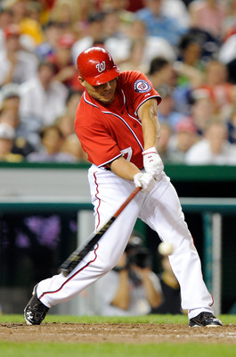 WASHINGTON, DC - JULY 02:  Ivan Rodriguez #7 of the Washington Nationals drives in the game winning run with a single in the eighth inning against the Pittsburgh Pirates at Nationals Park on July 2, 2011 in Washington, DC. (Photo by Greg Fiume/Getty Image