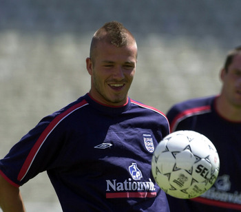 5 June 2001: England Captain David Beckham keeps two balls under control during England training at the Olympic Stadium, Athens, Greece.                   +++Digital Image+++ Mandatory Credit: Stu Forster/ALLSPORT