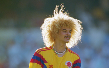 Carlos Valderrama of Colombia during the Round of 16 match against the Cameroon at the 1990 FIFA World Cup on 23 June 1990 at the San Paolo Stadium in Naples, Italy. The match resulted in an 2-1 extra time victory for the Camaroon   .(Photo by David Canno