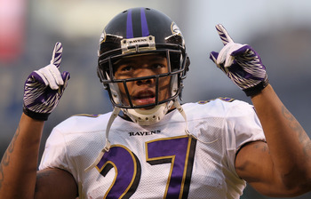 Ray Rice (above) would be EVEN MORE grateful if GM Ozzie Newsome brought in Bush to split his carries.