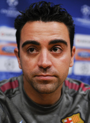 BARCELONA, SPAIN - MAY 02:  Xavi Hernandez of Barcelona attends a press conference at the Camp Nou Stadium, ahead of Barcelona's UEFA Champions League semi-final second leg match against Real Madrid, on May 2, 2011 in Barcelona, Spain.  (Photo by David Ra