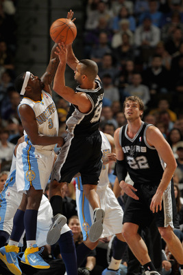 Tiago Splitter and Tony Parker