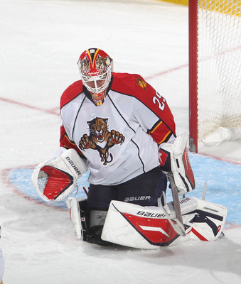 BUFFALO, NY - DECEMBER 23:  Tomas Vokoun #29 of the Florida Panthers makes a save against the Buffalo Sabres  at HSBC Arena on December 23, 2010 in Buffalo, New York. Florida won 4-3.  (Photo by Rick Stewart/Getty Images)