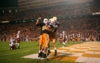 KNOXVILLE, TN - OCTOBER 31:  Kevin Cooper #45 of the Tennessee Volunteers celebrates with teammates after scoring a touchdown against the South Carolina Gamecocks at Neyland Stadium on October 31, 2009 in Knoxville, Tennessee.  (Photo by Streeter Lecka/Ge