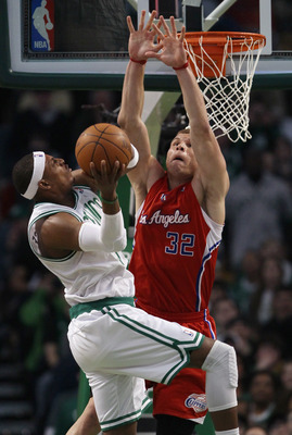 BOSTON, MA - MARCH 09:  Blake Griffin #32 of the Los Angeles Clippers blocks a shot attempt by Paul Pierce #34 of the Boston Celtics on March 9, 2011 at the TD Garden in Boston, Massachusetts. The Los Angeles Clippers defeated the Boston Celtics 108-103.