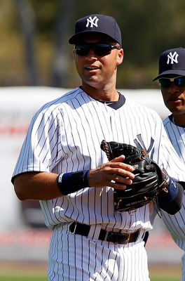 TAMPA, FL - FEBRUARY 26:  Shortstop Derek Jeter #2 of the New York Yankees looks over the infield against the Philadelphia Phillies during a Grapefruit League Spring Training Game at George M. Steinbrenner Field on February 26, 2011 in Tampa, Florida.  (P