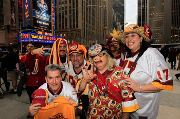 NEW YORK, NY - APRIL 28:  Fans of the Washington Redskins show support for their team during the 2011 NFL Draft at Radio City Music Hall on April 28, 2011 in New York City.  (Photo by Chris Trotman/Getty Images)