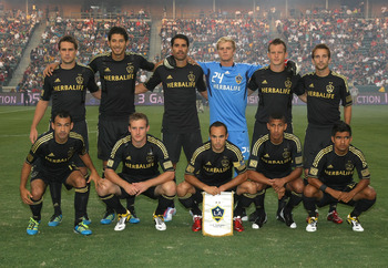 CARSON, CA - JULY 04:  The starting XI of the Los Angeles Galaxy pose for a group photo prior to their MLS match against Seattle Sounders FC at The Home Depot Center on July 4, 2011 in Carson, California. Sounders FC and the Galaxy played to a 0-0 draw.