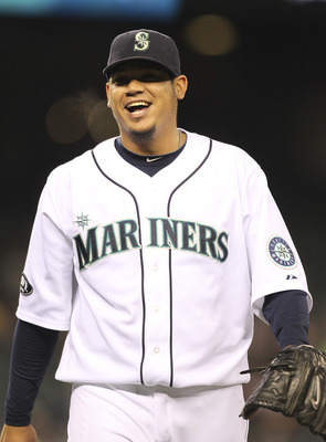SEATTLE - JUNE 02:  Starting pitcher Felix Hernandez #34 of the Seattle Mariners smiles as he leaves the field in the seventh inning  against the Tampa Bay Rays at Safeco Field on June 2, 2011 in Seattle, Washington. (Photo by Otto Greule Jr/Getty Images)