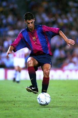 9 Sep 2000:  Lopez Gerard of Barcelona in action during the Spanish Primera Liga match between Barcelona and Malaga at the Nou Camp Stadium, Barcelona, Spain. Mandatory Credit: Allsport/ALLSPORT