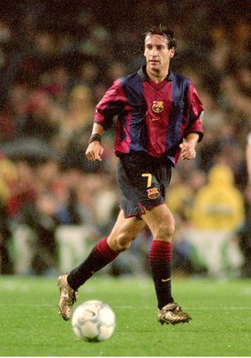 21 Oct 2000:  Alfonso of Barcelona in action during the Spanish Primera Liga match against Real Madrid played at the Nou Camp in Barcelona, Spain. Barcelona won the game 2-0. \ Picture by Nuno Correia. \ Mandatory Credit: Allsport UK /Allsport