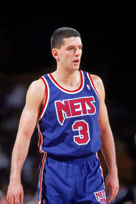 DENVER - 1991-92:  Drazen Petrovic #3 of the New Jersey Nets on the court against the Denver Nuggets during a 1991-92 season game at McNichols Arena in Denver, Colorado. NOTE TO USER: User expressly acknowledges and agress that, by downloading and or usin