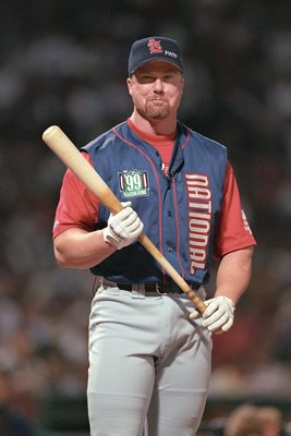 BOSTON - JULY 12:  Mark McGwire participates in the 1999 All -Star Game Home Run Derby at Fenway Park on July 12, 1999 in Boston, Massachusetts. (Photo by Brian Bahr/Getty Images)