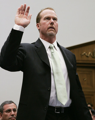 WASHINGTON - MARCH 17:  Former St. Louis Cardinal Mark McGwire is sworn in during a House Committe session investigating Major League Baseball's effort to eradicate steroid use on Capitol Hill March 17, 2005 in Washington, DC. Major League Baseball (MLB)