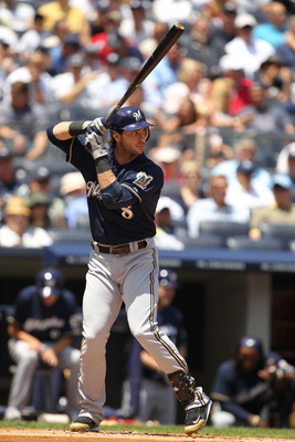 NEW YORK, NY - JUNE 30:  Ryan Braun #8 of the Milwaukee Brewers in action against the New York Yankees during their game on June 30, 2011 at Yankee Stadium in the Bronx borough of New York City.  (Photo by Al Bello/Getty Images)