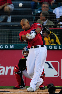 ANAHEIM, CA - JULY 12:  American League All-Star Vernon Wells #10 of the Toronto Blue Jays at bat during round one of the 2010 State Farm Home Run Derby during All-Star Weekend at Angel Stadium of Anaheim on July 12, 2010 in Anaheim, California.  (Photo b