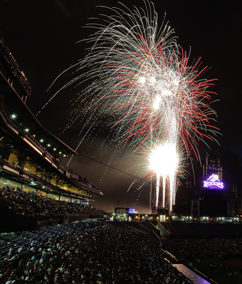DENVER, CO - JULY 1:  Fireworks explode over the stadium after a game between the Kansas City Royals and Colorado Rockies at Coors Field on July 1, 2011 in Denver, Colorado. The Rockies defeated the Royals 9-0. (Photo by Justin Edmonds/Getty Images)