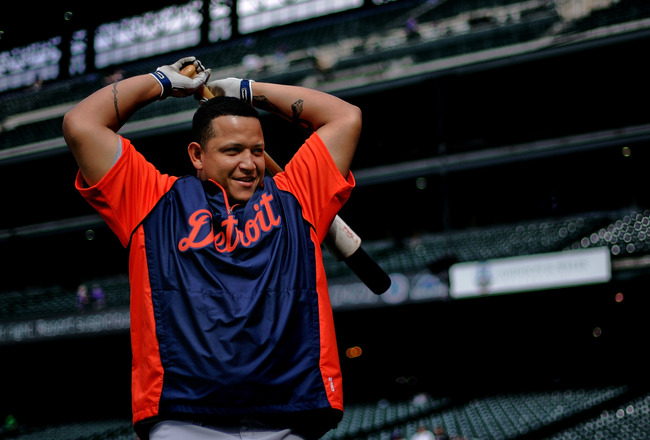 DENVER, CO - JUNE 18:  Miguel Cabrera #24 of the Detroit Tigers wams up before a game against the Colorado Rockies at Coors Field on June 18, 2011 in Denver, Colorado.  (Photo by Justin Edmonds/Getty Images)