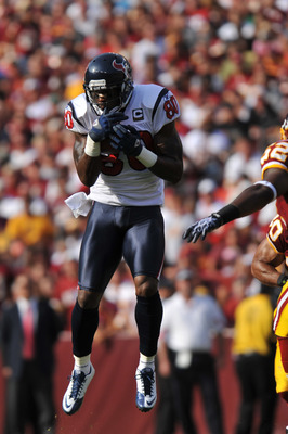 LANDOVER - SEPTEMBER 19:  Andre Johnson #80 of the Houston Texans makes a catch against the Washington Redskins at FedExField on September 19, 2010 in Landover, Maryland. The Texans defeated the Redskins in overtime 30-27. (Photo by Larry French/Getty Ima