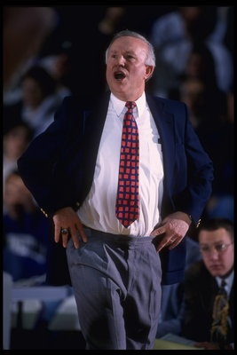 27 Jan 1996:  Head coach Lou Henson of the Illinois Fighting Illini paces the sideline as his team plays the Northwestern Wildcats at the Welsh-Ryan Arena in Evanston, Illinois. Illinois defeated Northwestern 74-62.   Mandatory Credit:  Jonathan Daniel/Al