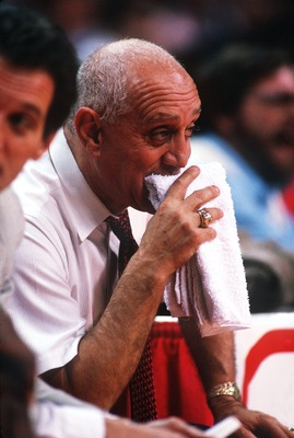 1989:  UNLV HEAD COACH JERRY TARKANIAN NERVOUSLY MUNCHES ON A TOWEL DURING A RUNNIN' REBELS GAME. Mandatory Credit: Tim Defrisco/ALLSPORT