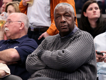 NEW YORK - MARCH 13: John Thompson II attends the game between the West Virginia Mountaineers and the Georgetown Hoyas during the championship of the 2010 NCAA Big East Tournament at Madison Square Garden on March 13, 2010 in New York City.  (Photo by Jim