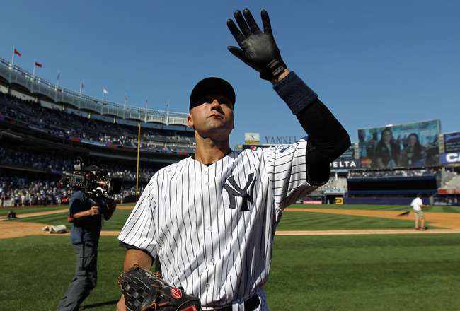 NEW YORK, NY - JULY 09:  Derek Jeter #2 of the New York Yankees waves to the fans after a game against the Tampa Bay Rays at Yankee Stadium on July 9, 2011 in the Bronx borough of New York City. Jeter hit the 3000th hit of his career in the game.   (Photo