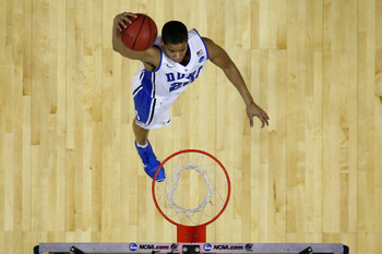 CHARLOTTE, NC - MARCH 18:  Andre Dawkins #20 of the Duke Blue Devils dunks the ball against the Hampton Pirates during the second round of the 2011 NCAA men's basketball tournament at Time Warner Cable Arena on March 18, 2011 in Charlotte, North Carolina.