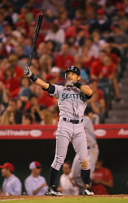 ANAHEIM, CA - JULY 08:  Ichiro Suzuki #51 of the Seattle Mariners bats in the eighth inning during the MLB game against the Los Angeles Angels of Anaheim at Angel Stadium of Anaheim on July 8, 2011 in Anaheim, California. The Angels defeated the Mariners