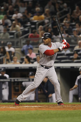 NEW YORK, NY - JUNE 09:  Carl Crawford of the Boston Red Sox against the New York Yankees on June 9, 2011 at Yankee Stadium in the Bronx borough of New York City.  (Photo by Nick Laham/Getty Images)