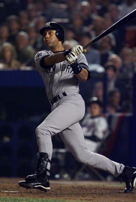 26 Oct 2000:  Derek Jeter #2 of the New York Yankees watches his home run in the sixth inning against the New York Mets during Game 5 of the World Series at Shea Stadium in Flushing, New York. The Yankees won the game 4-2 to clinch their third consecutive