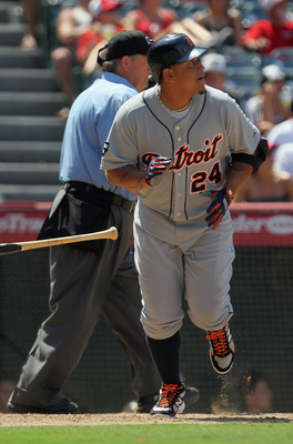 ANAHEIM, CA - JULY 06:  Miguel Cabrera #24 of the Detroit Tigers watches after hitting a solo home in the seventh inning against the Los Angeles Angels of Anaheim at Angel Stadium of Anaheim on July 6, 2011 in Anaheim, California. The Tigers defeated the