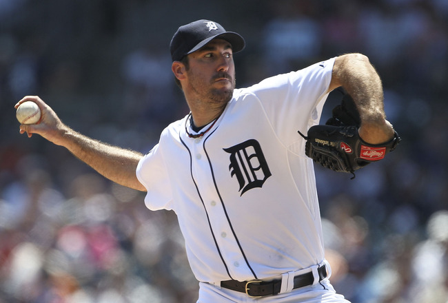 DETROIT - JUNE 30: Justin Verlander #35 of the Detroit Tigers pitches in the seventh inning during the game against the New York Mets at Comerica Park on June 30, 2011 in Detroit, Michigan. The Tigers defeated the Mets 5-2.  (Photo by Leon Halip/Getty Ima
