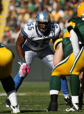 GREEN BAY, WI - OCTOBER 03: Landon Johnson #55 of the Detroit Lions awaits the start of play against the Green Bay Packers at Lambeau Field on October 3, 2010 in Green Bay, Wisconsin. The Packers defeated the Lions 28-26. (Photo by Jonathan Daniel/Getty I