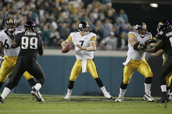 JACKSONVILLE, FL - DECEMBER 5:  Quarterback Ben Roethlisberger #7 of the Pittsburgh Steelers sets to pass during the game against the Jacksonville Jaguars at Alltel Stadium on December 5, 2004 in Jacksonville, Florida. Pittsburgh defeated Jacksonville 17-