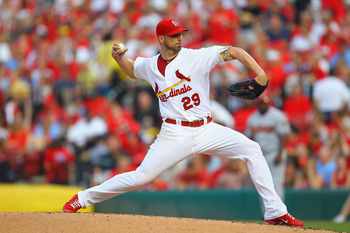 ST. LOUIS, MO - JULY 9: Starter Chris Carpenter #29 of the St. Louis Cardinals pitches against the Arizona Diamondbacks at Busch Stadium on July 9, 2011 in St. Louis, Missouri.  (Photo by Dilip Vishwanat/Getty Images)