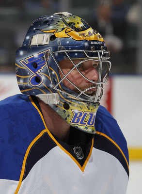 SUNRISE, FL - FEBRUARY 8: Goaltender Ty Conklin #29 of the St. Louis Blues warms up prior to the NHL game against the Florida Panthers on February 8, 2011 at the BankAtlantic Center in Sunrise, Florida. The Blues defeated the Panthers 2-1. (Photo by Joel
