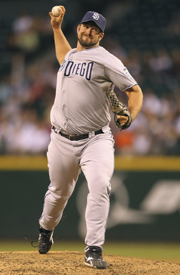 SEATTLE - JULY 02:  Closing pitcher Heath Bell #21 of the San Diego Padres pitches against the Seattle Mariners at Safeco Field on July 2, 2011 in Seattle, Washington. The Padres defeated the Mariners 1-0. (Photo by Otto Greule Jr/Getty Images)