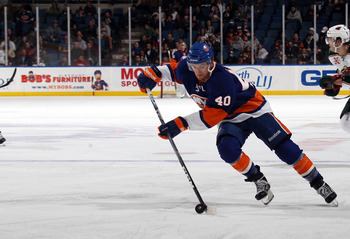 UNIONDALE, NY - MARCH 02:  Michael Grabner #40 of the New York Islanders skates against the Minnesota Wild at the Nassau Coliseum on March 2, 2011 in Uniondale, New York. The Islanders defeated the Wild 4-1.  (Photo by Bruce Bennett/Getty Images)