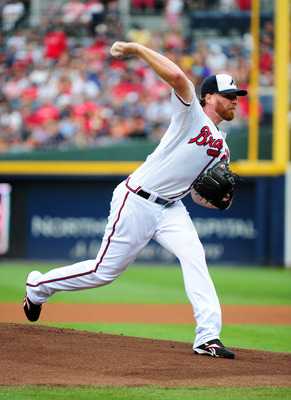 ATLANTA - JULY 4: Tommy Hanson #48 of the Atlanta Braves pitches against the Colorado Rockies at Turner Field on July 4, 2011 in Atlanta, Georgia. (Photo by Scott Cunningham/Getty Images)