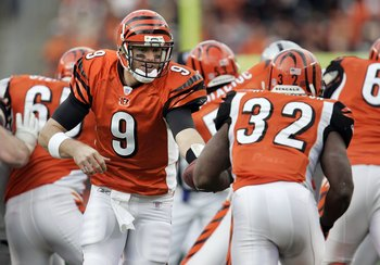 Cincinnati, OH - DECEMBER 10:  Quarterback Carson Palmer #9 of the Cincinnati Bengals hands the ball off to running back Rudi Johnson #32 during the third quarter against the Oakland Raiders on December 10, 2006 at Paul Brown Stadium in Cincinnati, Ohio.