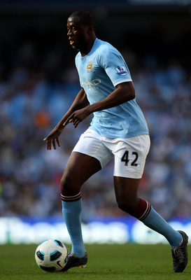 MANCHESTER, ENGLAND - MAY 01:  Yaya Toure of Manchester City in action during the Barclays Premier League match between Manchester City and West Ham United at the City of Manchester Stadium on May 1, 2011 in Manchester, England.  (Photo by Alex Livesey/Ge