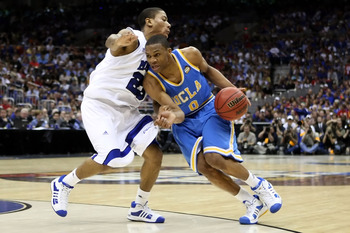 SAN ANTONIO - APRIL 05:  Russell Westbrook #0 of the UCLA Bruins drives against Derrick Rose #23 of the Memphis Tigers in the second half during the National Semifinal game of the NCAA Men's Final Four at the Alamodome on April 5, 2008 in San Antonio, Tex