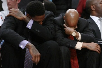 NEW YORK - MARCH 16: Eddy Curry (L) and Stephon Marbury of the New York Knicks react at the end of the match against the Atlanta Hawks at Madison Square Garden March 16, 2008 in New York City. NOTE TO USER: User expressly acknowledges and agrees that, by