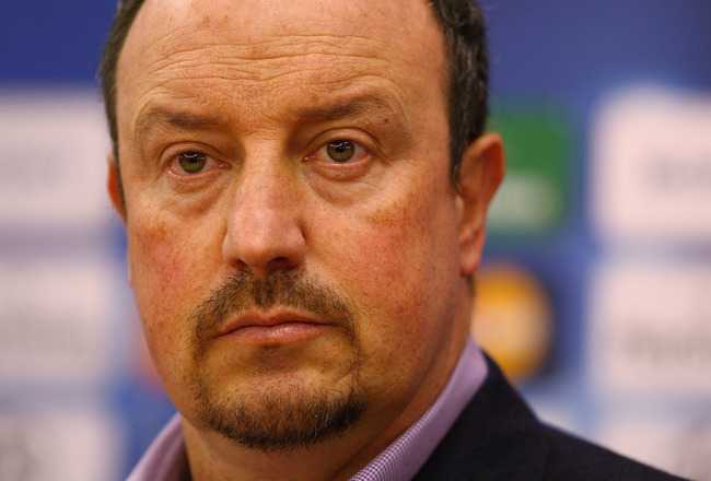 LIVERPOOL, ENGLAND - DECEMBER 08:  Liverpool manager Rafael Benitez shows his frustration during the press conference prior to the UEFA Champions League Group E match between  Liverpool and Fiorentina at Melwood training ground on December 8, 2009 in Live